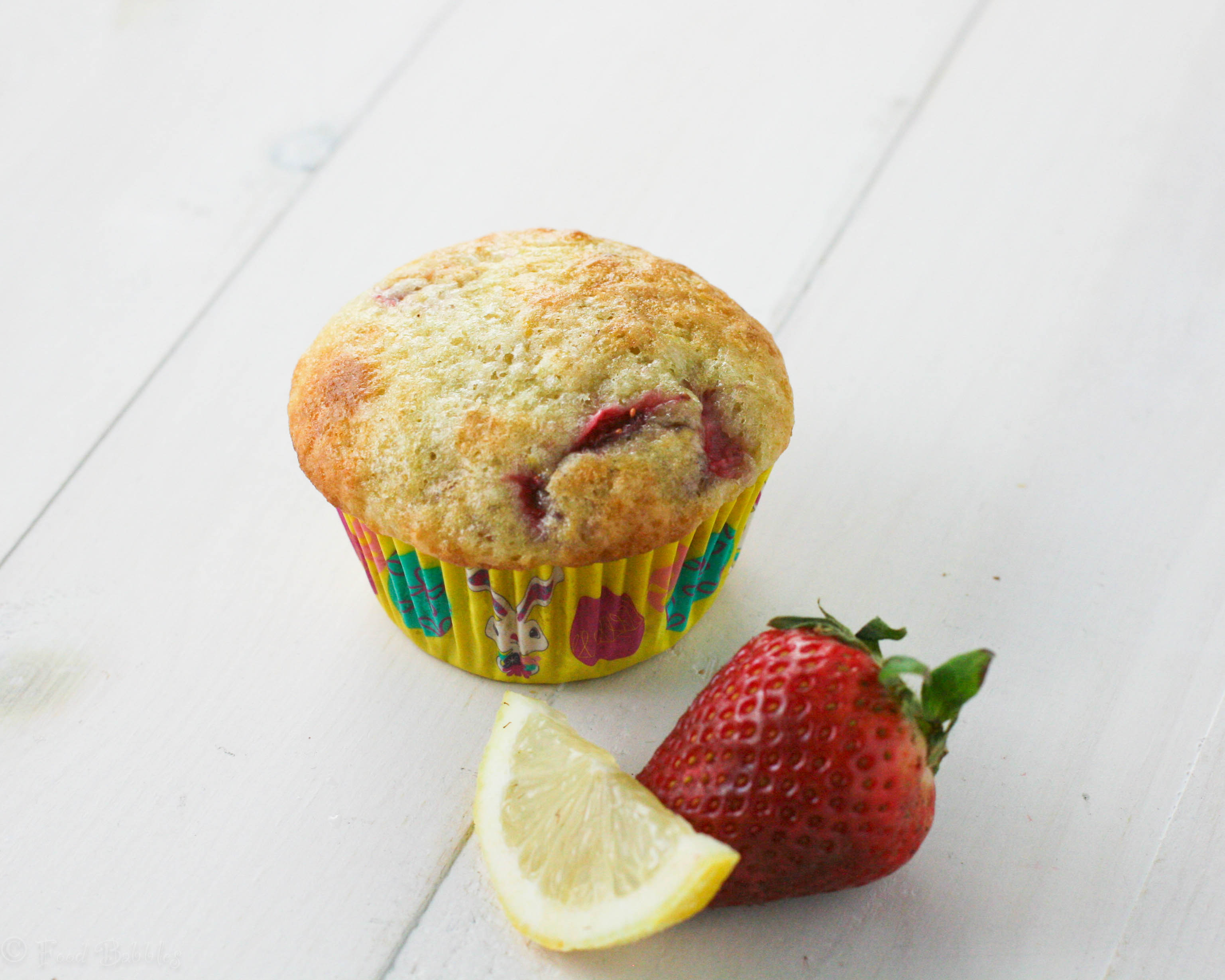 Strawberry Lemon Yogurt Muffins ~ #MuffinMonday