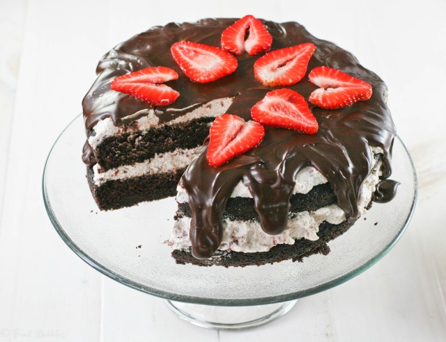 Chocolate Cake with Balsamic Strawberry Whipped Cream Filling from FoodBabbles
